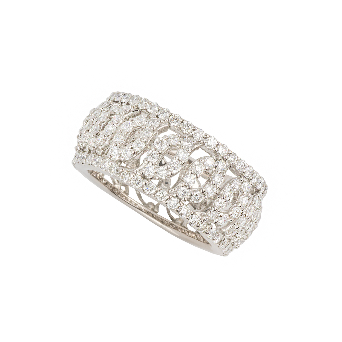 18k White Gold Diamond Set Dress Ring